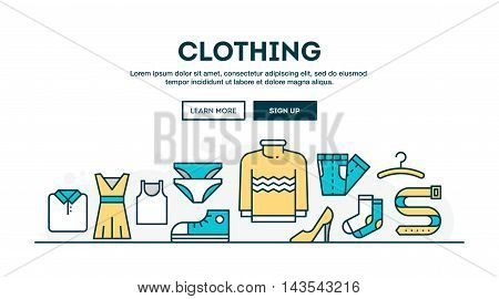 Clothing fashion boutique colorful concept header flat design thin line style vector illustration