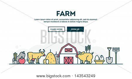 Farm local grown food farmer's market colorful concept header flat design thin line style vector illustration