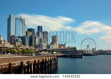 Seattle waterfront view with urban architecture