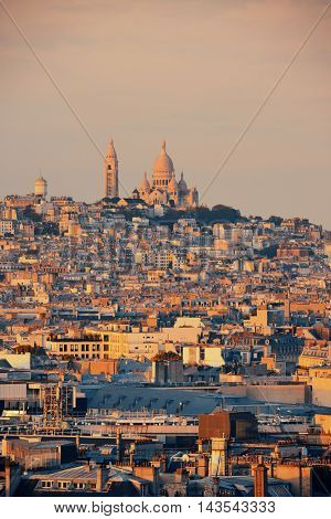 Paris rooftop view of the city skyline and Sacre Coeur in France.