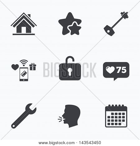 Home key icon. Wrench service tool symbol. Locker sign. Main page web navigation. Flat talking head, calendar icons. Stars, like counter icons. Vector
