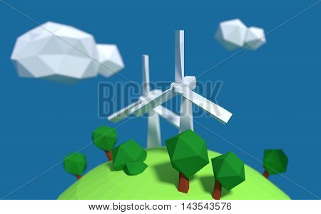 Two white wind turbine generator on the earth with good ecology low-poly 3d rendered