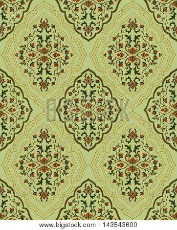 Gentle floral ornament. Template for oriental carpets textiles shawl and any surface. Seamless vector pattern of gold contours on a green background.