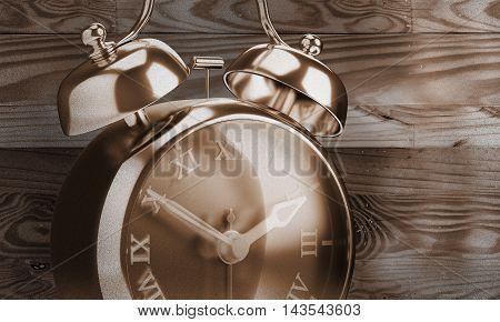 Closeup vintage alarm clock roman number sepia color 3d render