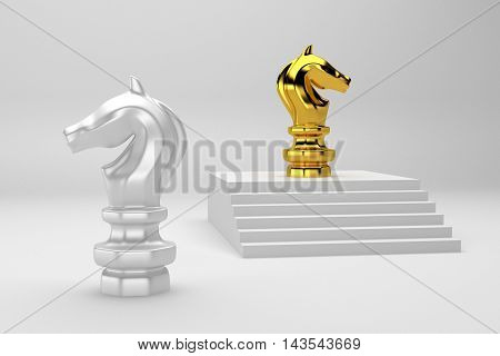 Gold Chess knight on top 3d rendering