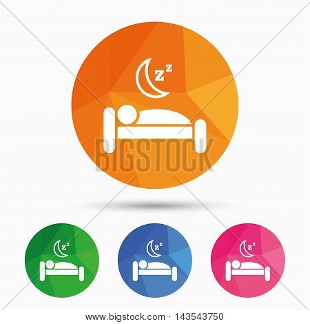 Hotel apartment sign icon. Travel rest place. Sleeper symbol. Triangular low poly button with flat icon. Vector