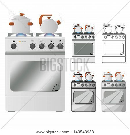 Gas Stove With Pots And Pans