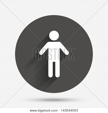 Human male sign icon. Man Person symbol. Male toilet. Circle flat button with shadow. Vector