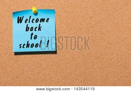 Welcome back to school background, sticker on notice board.
