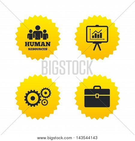 Human resources and Business icons. Presentation board with charts signs. Case and gear symbols. Yellow stars labels with flat icons. Vector