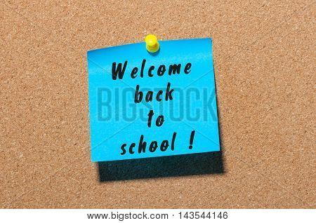 Back to school background, sticker on notice board.