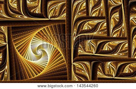 Abstract fractal background - computer-generated image. Digital art: complex intricate pattern consisting of curve. Backdrop ar texture for prints, web design, covers.