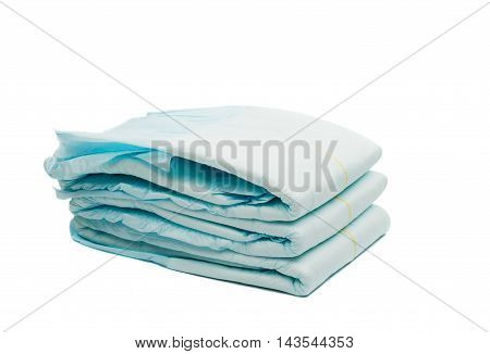 diapers child, comfortable on a white background