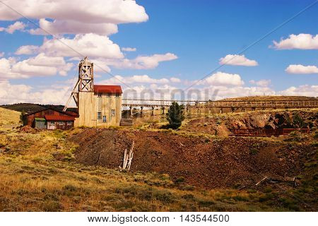 Old, abandoned mine near South Pass City in Wyoming