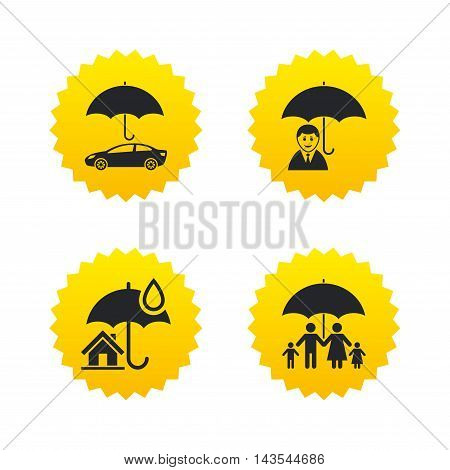 Family, Real estate or Home insurance icons. Life insurance and umbrella symbols. Car protection sign. Yellow stars labels with flat icons. Vector