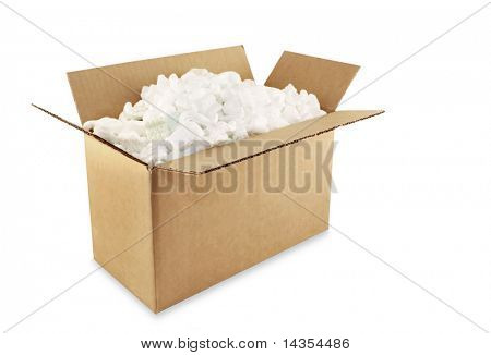 Cardboard shipping box filled with styrofoam peanuts, isolated on white.