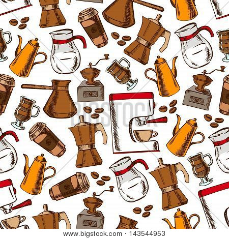 Coffee house pattern with seamless sketchy coffee pot, cup and grinder, espresso machine, takeaway paper cup and milk pitcher on white background with roasted coffee beans