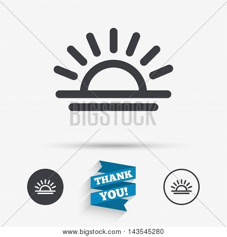 Light on icon. Lamp bulb or sunset symbol. Flat icons. Buttons with icons. Thank you ribbon. Vector