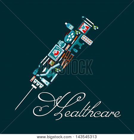 Medication treatment and healthcare symbol of syringe with medicine bottles, pills, dentist chair and tools, tooth braces, x-ray, operation table, baby ultrasound, pipettes and crutches icons