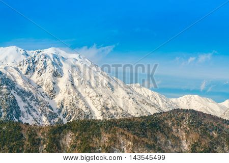 Japan Winter mountain with snow covered