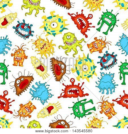 Seamless pattern of funny monsters and aliens characters with spotted bodies, wavy tentacles, pseudopods and toothy smiles on white background. Childish stylized wallpaper theme design