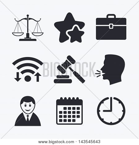 Scales of Justice icon. Client or Lawyer symbol. Auction hammer sign. Law judge gavel. Court of law. Wifi internet, favorite stars, calendar and clock. Talking head. Vector