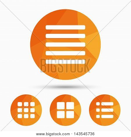 List menu icons. Content view options symbols. Thumbnails grid or Gallery view. Triangular low poly buttons with shadow. Vector