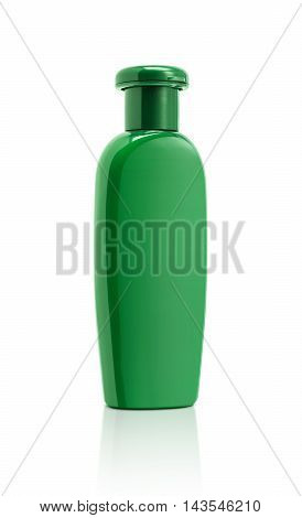 blank packaging green cosmetic bottle isolated on white background with clipping path