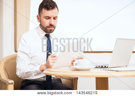 Young Man Working During A Business Trip
