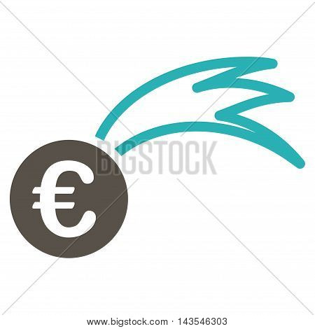 Euro Falling Meteor icon. Vector style is bicolor flat iconic symbol with rounded angles, grey and cyan colors, white background.