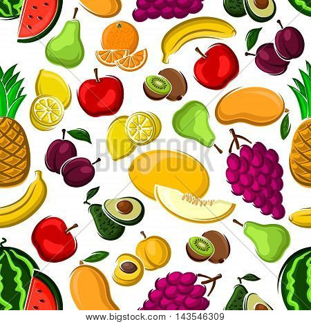 Sweet fruits pattern on white background with seamless apples, mangoes, oranges, peaches, plums, bananas, grapes, lemons, pineapples, watermelons kiwis pears avocados and melons fruits