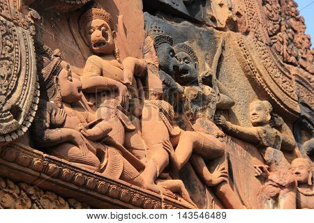 Bas Relief Carvings of Banteay Srei in Cambodia