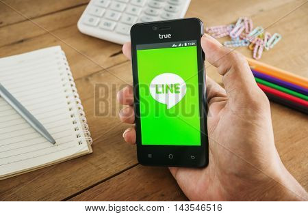 PHUKET, THAILAND Aug 20 2016 : Line icons on mobile Line is largest and most popular social networking site in the world