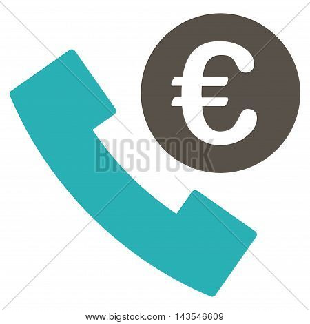 Euro Phone Order icon. Vector style is bicolor flat iconic symbol with rounded angles, grey and cyan colors, white background.