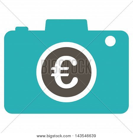 Euro Photo icon. Vector style is bicolor flat iconic symbol with rounded angles, grey and cyan colors, white background.