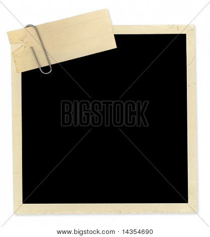 Old photo, nicely aged, with vintage notepaper attached by paperclip.  Ready for your message.  Clipping path included.