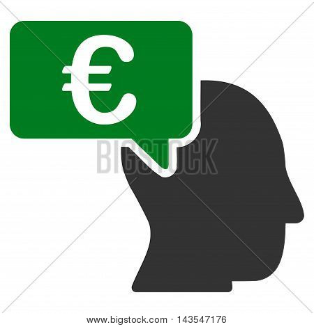 Euro Businessman Idea icon. Vector style is bicolor flat iconic symbol with rounded angles, green and gray colors, white background.