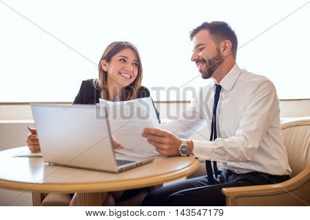 Businesswoman Flirting With A Coworker