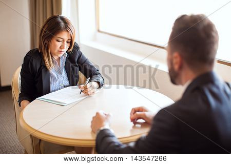 Female Recruiter During An Interview In A Hotel