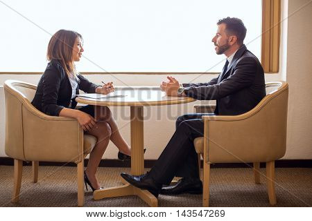 Cute Female Recruiter Interviewing A Candidate