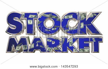 Stock Market Money Income Investment Words 3d Illustration