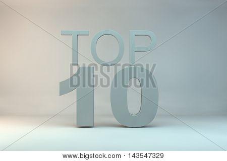 top 10 on background.3d illustration