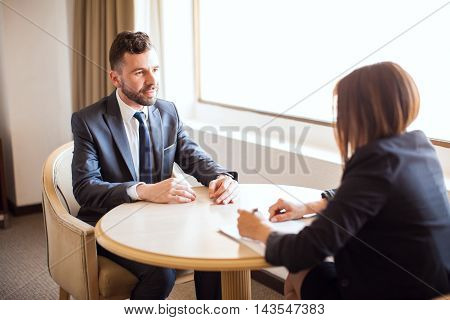 Sales Executive Giving A Sales Pitch