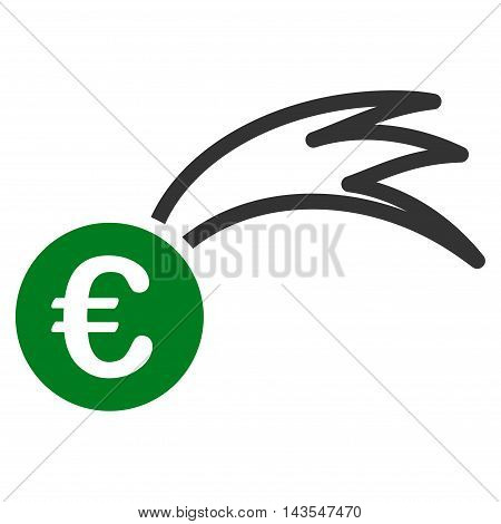 Euro Falling Meteor icon. Vector style is bicolor flat iconic symbol with rounded angles, green and gray colors, white background.