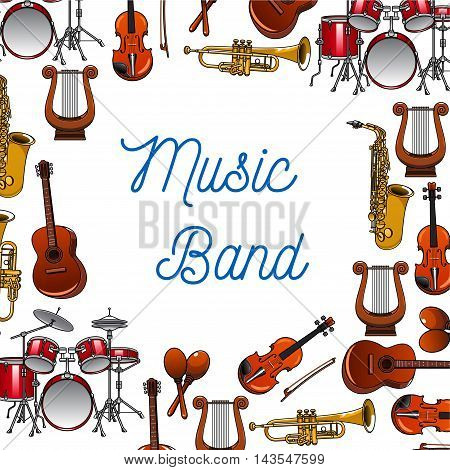 Musical instruments background of guitars, violins, drums, trumpets, saxophones, maracas and lyres with caption Music Band in the center. Use as music, entertainment and orchestra design