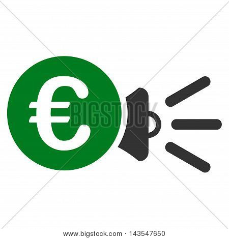 Euro Megaphone Ads icon. Vector style is bicolor flat iconic symbol with rounded angles, green and gray colors, white background.