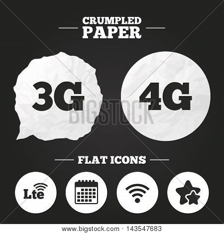 Crumpled paper speech bubble. Mobile telecommunications icons. 3G, 4G and LTE technology symbols. Wi-fi Wireless and Long-Term evolution signs. Paper button. Vector