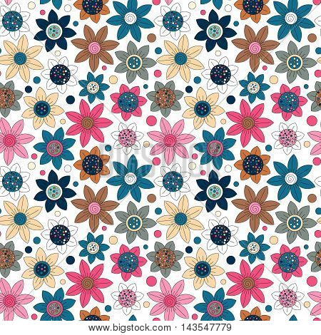 Floral seamless cute pattern simple design. Primitive flowers seamless ornament. Bright trandy colors flowers on white background. Vector illustration