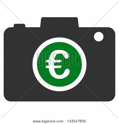 Euro Photo icon. Vector style is bicolor flat iconic symbol with rounded angles, green and gray colors, white background.