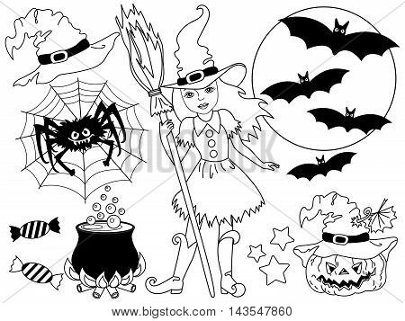 Vector black and white witch set with broomstick spider bats moon and pumpkin